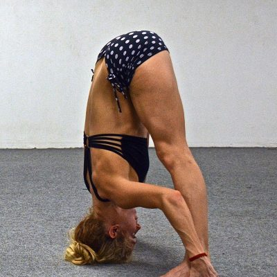 Katie Hall - standing separate leg stretching